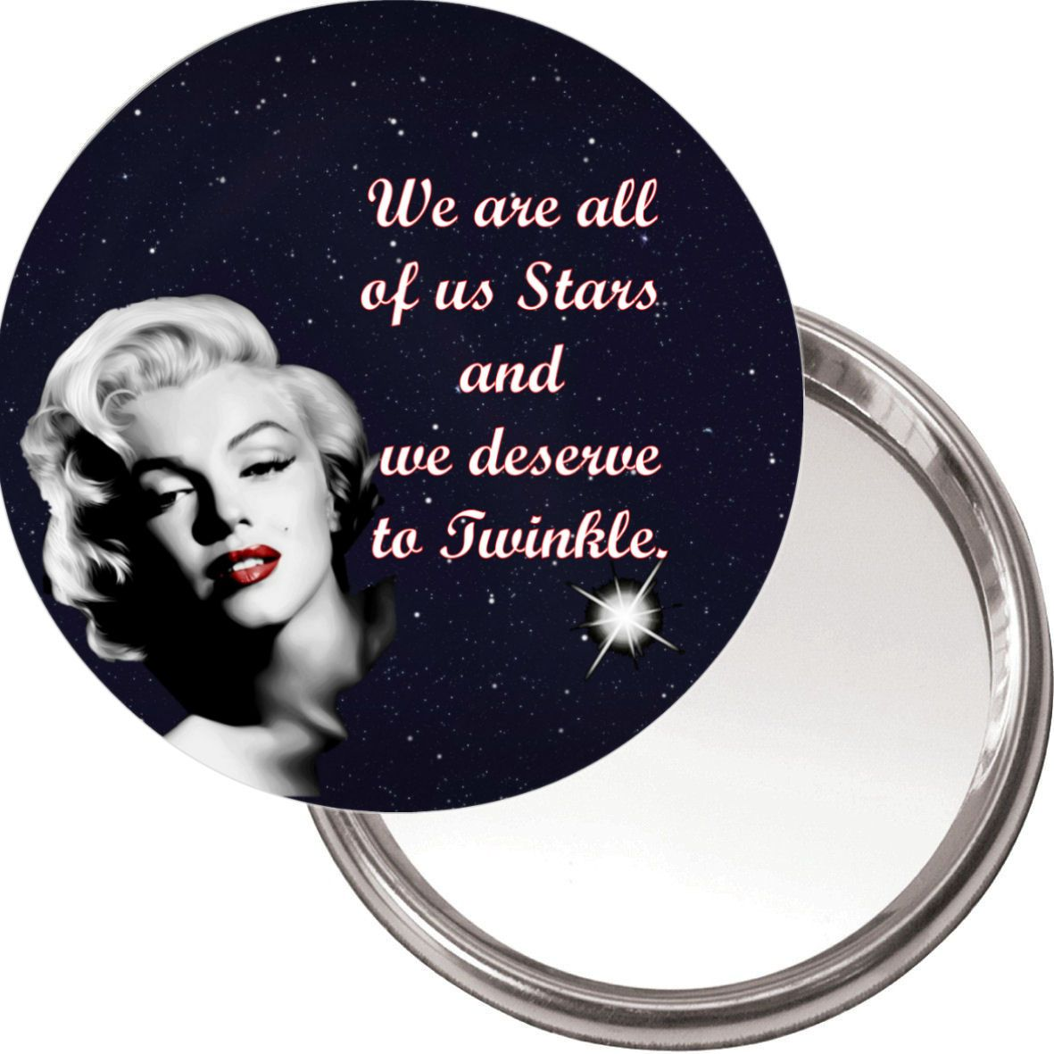 Compact Makeup Button Mirror With Marilyn Monroe Image We