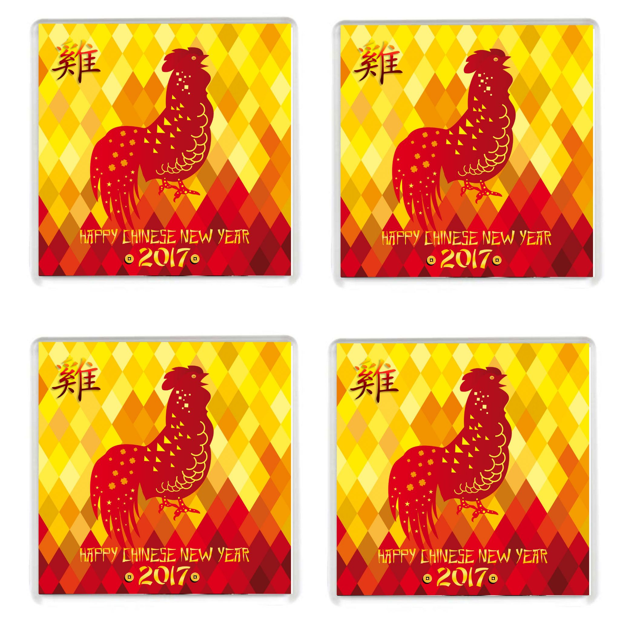FOUR Chinese New Year 2017 Year of the Rooster Drinks Coaster