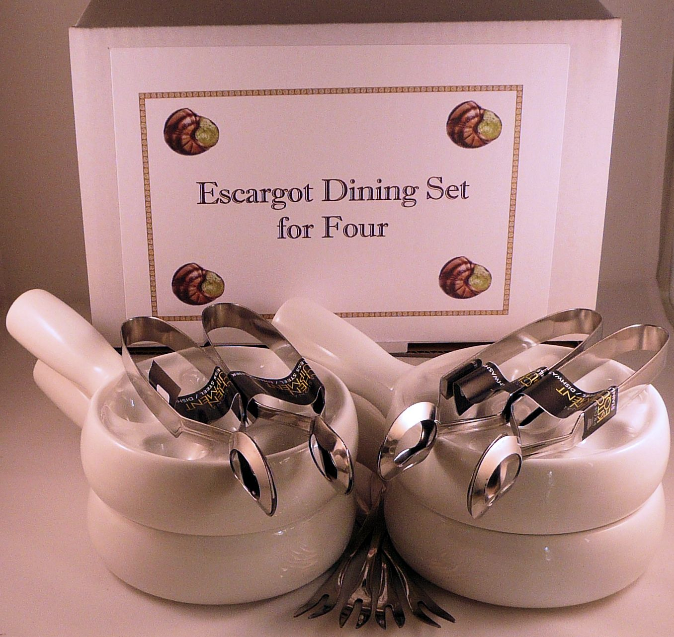 NOW IN STOCK Snail Escargot Dining set for FOUR 4 Vitrified Ceramic 6 hole  dishes 4 snail tongs 4 snail forks.